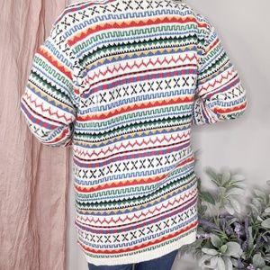 Liz Claiborne Sweaters - VTG Liz Sport Ramie beaded long cardigan stripe236